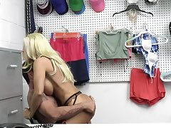 Anomalous security officer fucks a busty blonde be useful to shoplifting