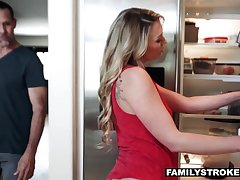 Bare ass stepdaughter Adira Allure seduces her daddy and fucks him under mom's nose
