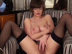 Banging MILF with big boobies is rubbing her hairy pussy sexily