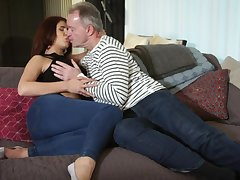 Ayda Swinger sucks old cock sitting mainly lover's face and gets fucked doggy style
