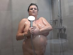 Chubby granny with obese undevious tits having some unique time