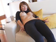 Asian bombshell Tiffany takes off her clothes and exposes her pussy