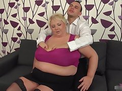 Hot sexy blonde mature in lingerie like coupling