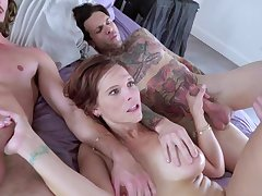 Hot mom drilled by three males while home alone