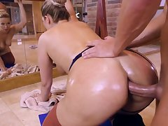 Big booty ballerina tries on a thick dick up the butt hole