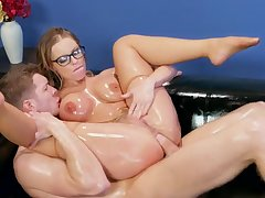 Blonde with glasses hard fucked for a complete hardcore XXX