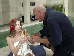 Amateur teen Julia Red fucks an older sponger at the synthesize and gets cum
