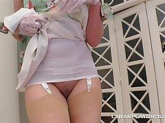 Full-grown devilish in lingerie Lara strips together back plays back a huge dildo
