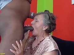my chubby hairy bush grandma enjoys her pre-eminent big black blarney interracial porn lesson