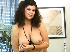 Curly grown up dame with huge soul Gilly masturbates herself