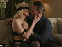 Blidfolded wifey Mona Wales gives BJ and gets brutally fucked doggy publicize