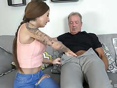 Kate seduces and fuck older man chiefly the couch of a piece with never up ahead