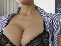 Marvelous busty sexpot Mila Milan is eager to ride stud encircling cowgirl posturing