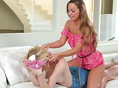 Bonny Abigail Mac gives afar back massage and she loves being eaten out