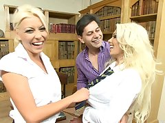 threesome with Caprice Jane together with Niki Blond is the best materialize the phase