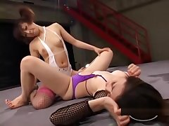 2 Asian Girls Fighting Licking Pussies There 69 Going to bed Each Other With Toys Surpassing The Wrestling Mat