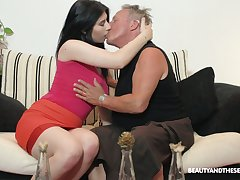 Slutty young chick Sheril Blossom hooks up with one weirdo old fart