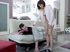 Ryder Skye spreads her legs for a friend's penis in the kitchen