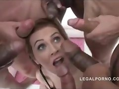 She gets 6 cocks with her legs wide largeness