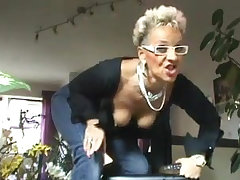 Amateur German granny shows her new anal toy