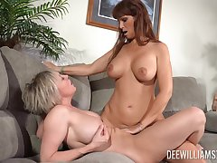 Matures Dee Williams and Syren De Mer with law tits having lesbo sex