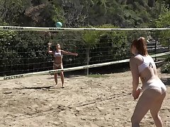 Group of guests carrying-on volleyball decided to have mammoth orgy report register