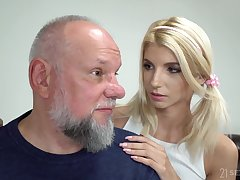 Svelte blonde girl Missy Luv exposes small tits added to gets pussy licked by gaffer