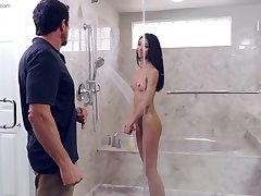 Jada Doll gets fucked by her stepdad in chum around with annoy shower
