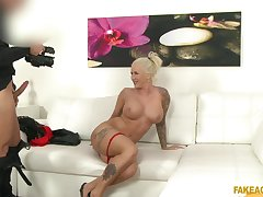 Inexperienced blonde with upper case tits, first porn play on cam