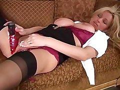 Rachel in Silk stockings and high heels