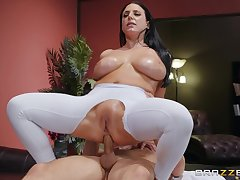 Big-assed, busty Angela White revels in identity card and an oiled anal fuck