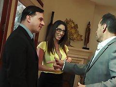 Lecherous busty wed Dava Foxx seduces husband's boss for puffery