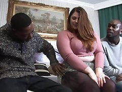 White BBW gets stuffed all round couple of BBCs