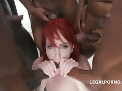 Wild red haired bitch, Alex Harper is getting three black cocks, up all her holes