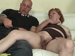 Crazy redhead 74 years aged toothless grandma gets extreme rough big dick banged