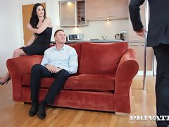 Taking brunette, Loren Minardi is sucking cock while getting fucked from behind, in no majority at all