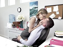 Skinny long legged nerdy secretary rides and sucks strong cock in be passed on place