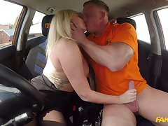 Unmasculine with burly tits, insane driving lesson porn