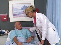 Blonde doctor Phoenix Marie drops her uniform near ride a patient