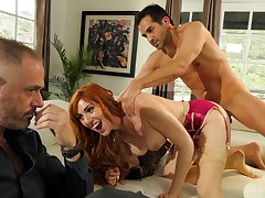 Redhead gets nailed in hardcore for a complete cuckold