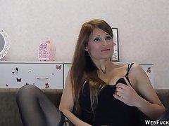 Brunette in lingerie masturbates on cam