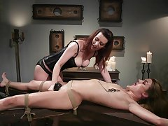 Lezdom session takes a kinky embroidery for Domme Cherry Patched and Zoe Sparx