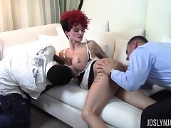 Wild redhead maid Joslyn James gonna be pounded hard by black trestle