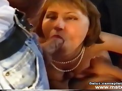 French MILF gagging on thick learn of