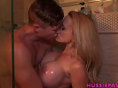 Screwing hot Billi Bardot is taking a shower with young lover