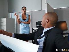 Massive jet-black cock for this lovely office babe