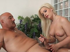 Interesting blonde needs this older man's dick to suit will not hear of needs