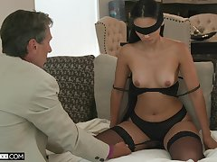 Blind-folded get hitched fucked by a guy older than her, say no to hubby's dad