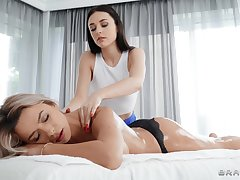Massage leads the hot babes alongside plot unique moments together
