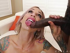 Sluttish tow-headed Sarah Jessie lets a black man invade all be fitting of her holes